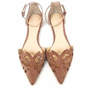 Zara Laser Cut Suede Pointed Toe Mauve Flats